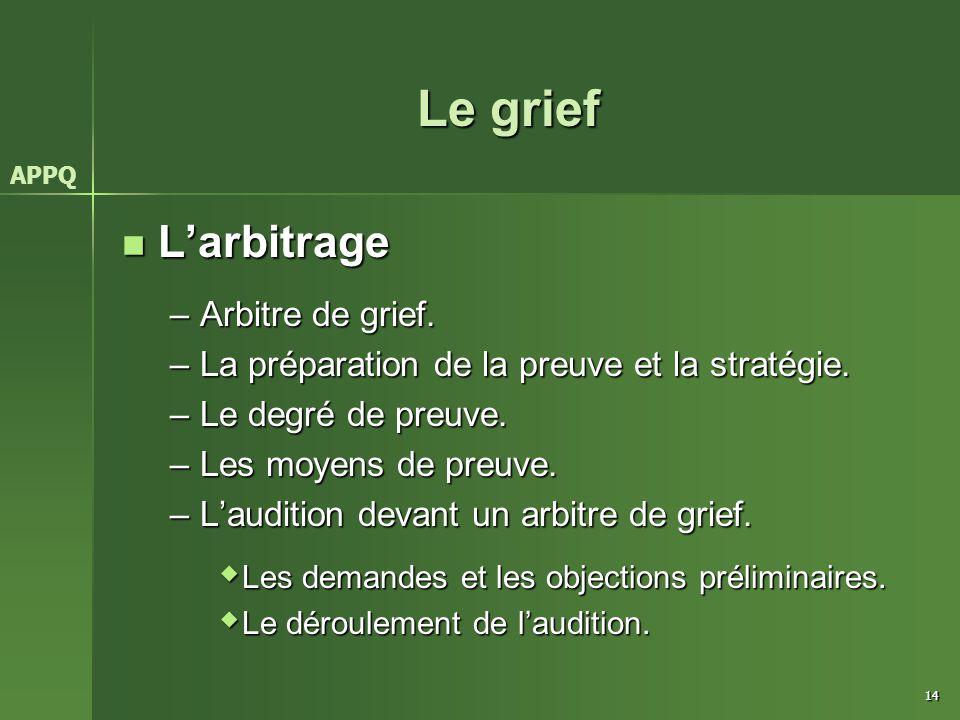 Le grief L'arbitrage Arbitre de grief.