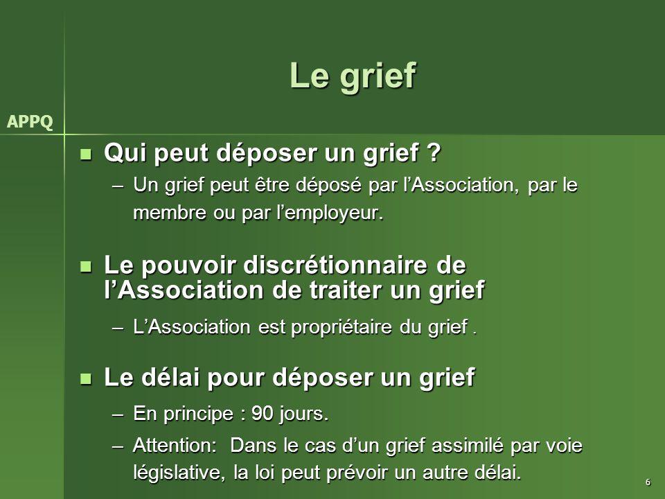 Le grief Qui peut déposer un grief