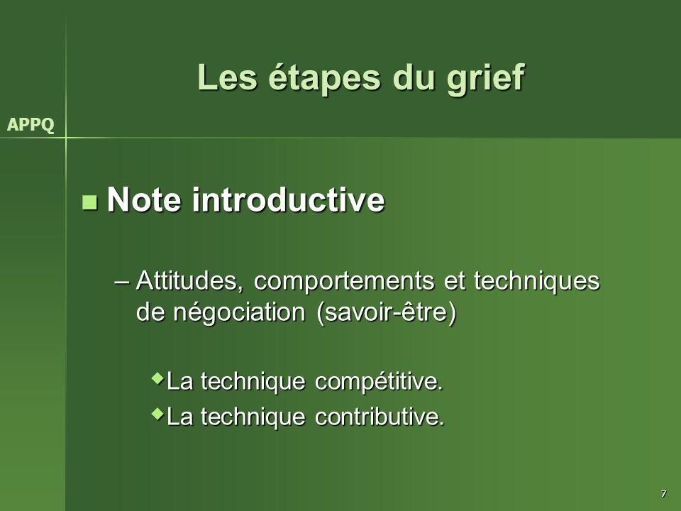 Les étapes du grief Note introductive