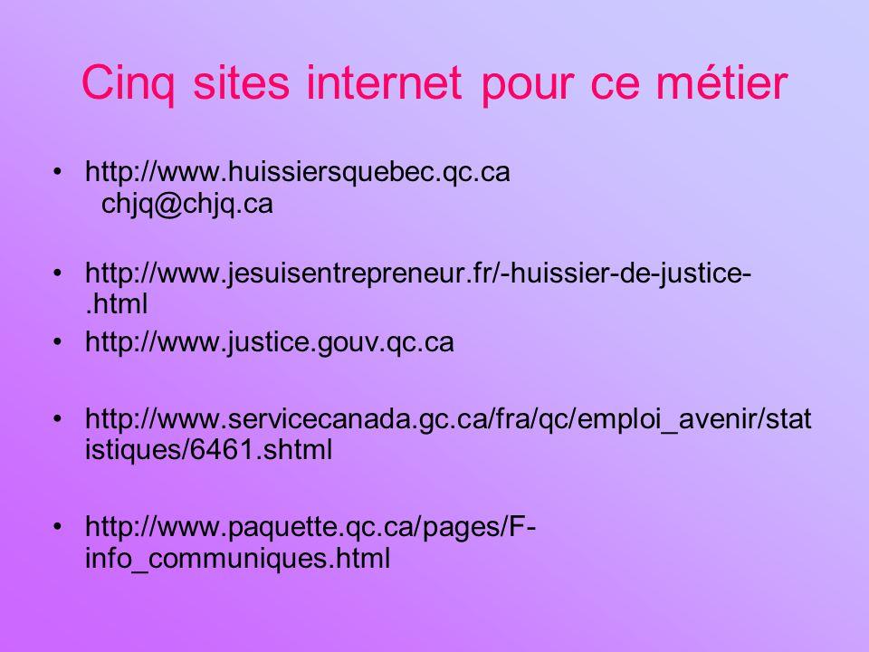 Cinq sites internet pour ce métier
