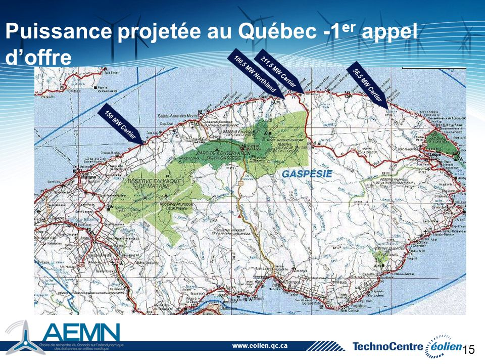 Puissance projetée au Québec -1er appel d'offre