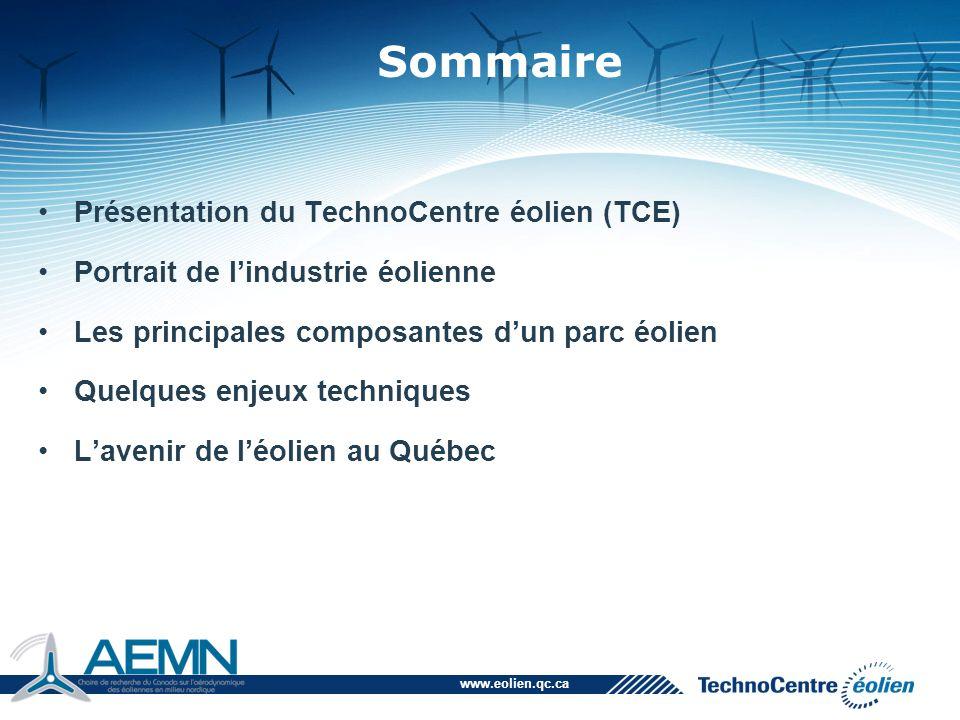 Sommaire Présentation du TechnoCentre éolien (TCE)