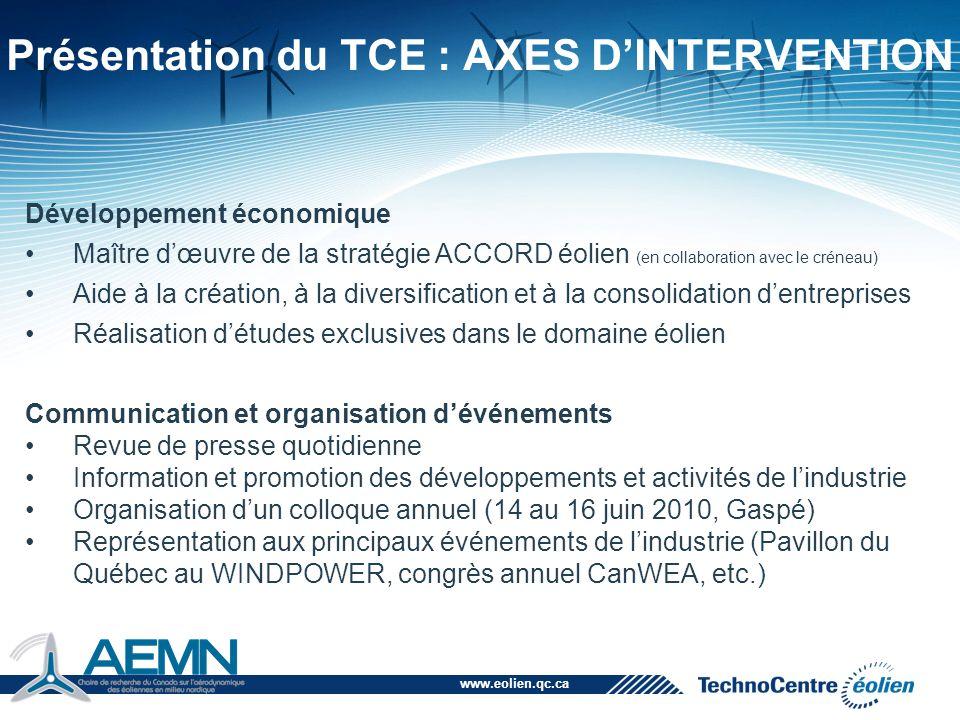 Présentation du TCE : AXES D'INTERVENTION