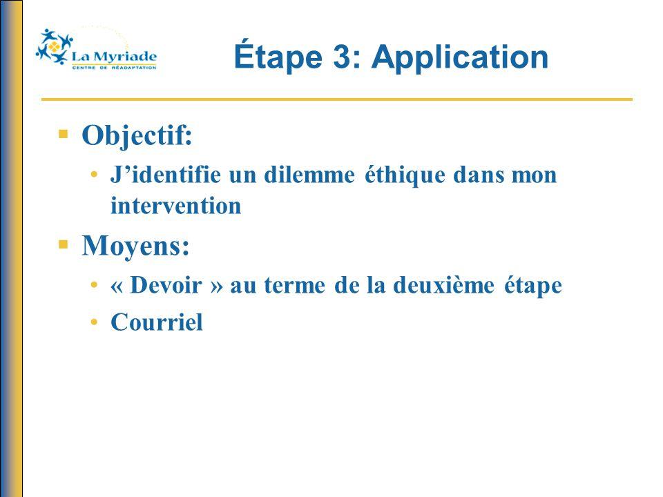 Étape 3: Application Objectif: Moyens: