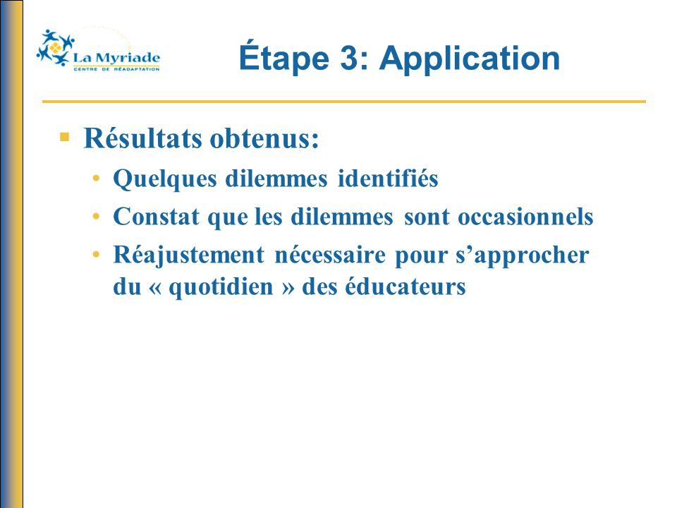 Étape 3: Application Résultats obtenus: Quelques dilemmes identifiés