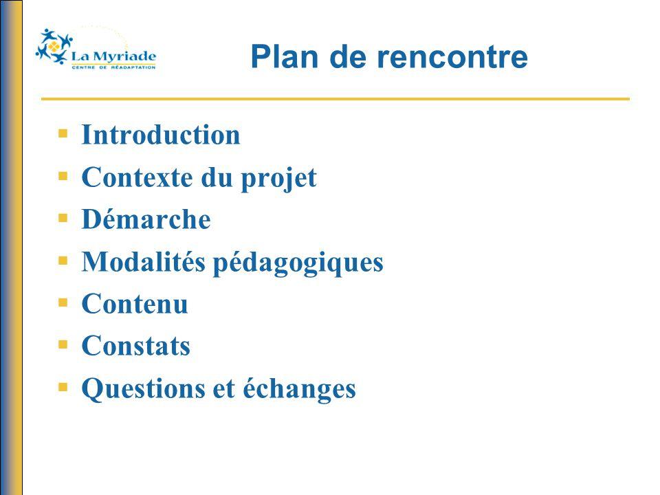 Plan de rencontre Introduction Contexte du projet Démarche