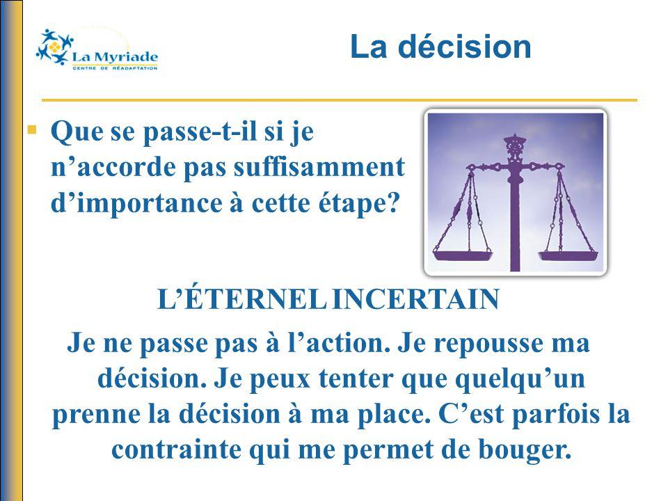 La décision Que se passe-t-il si je n'accorde pas suffisamment d'importance à cette étape L'ÉTERNEL INCERTAIN.