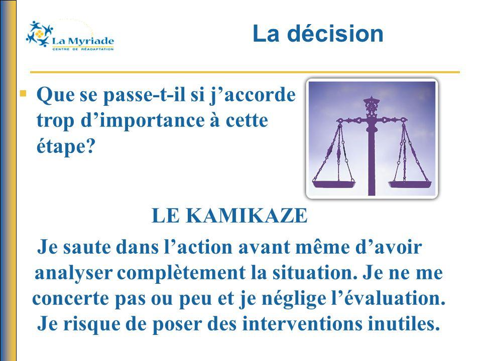 La décision Que se passe-t-il si j'accorde trop d'importance à cette étape LE KAMIKAZE.
