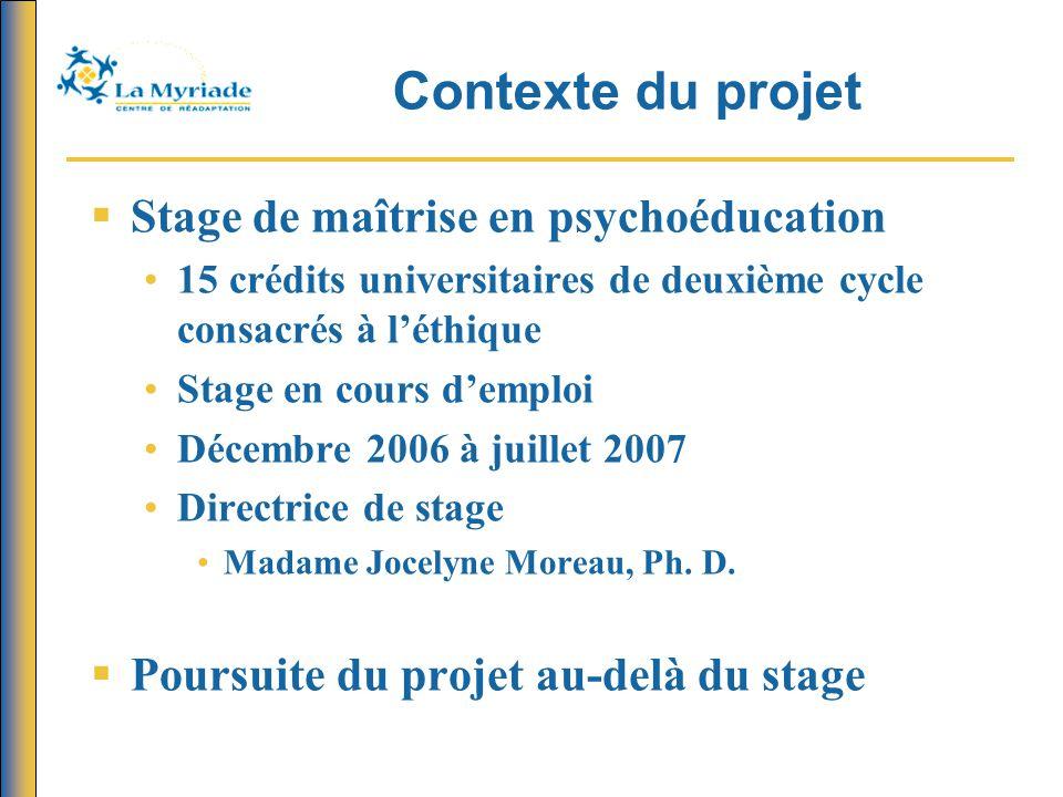 Contexte du projet Stage de maîtrise en psychoéducation