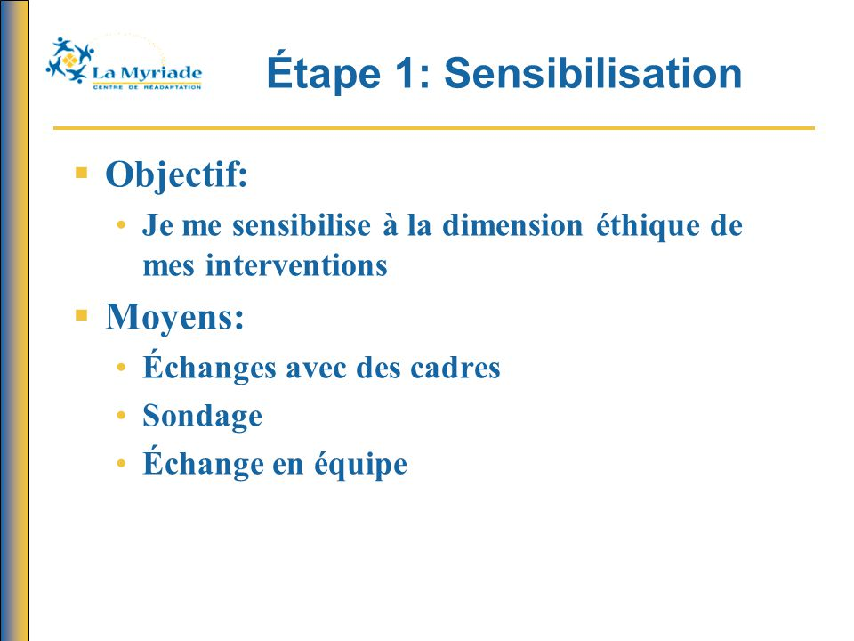 Étape 1: Sensibilisation