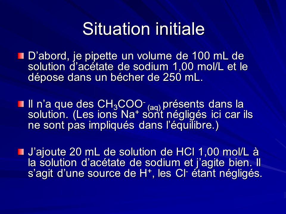 Situation initiale D'abord, je pipette un volume de 100 mL de solution d'acétate de sodium 1,00 mol/L et le dépose dans un bécher de 250 mL.