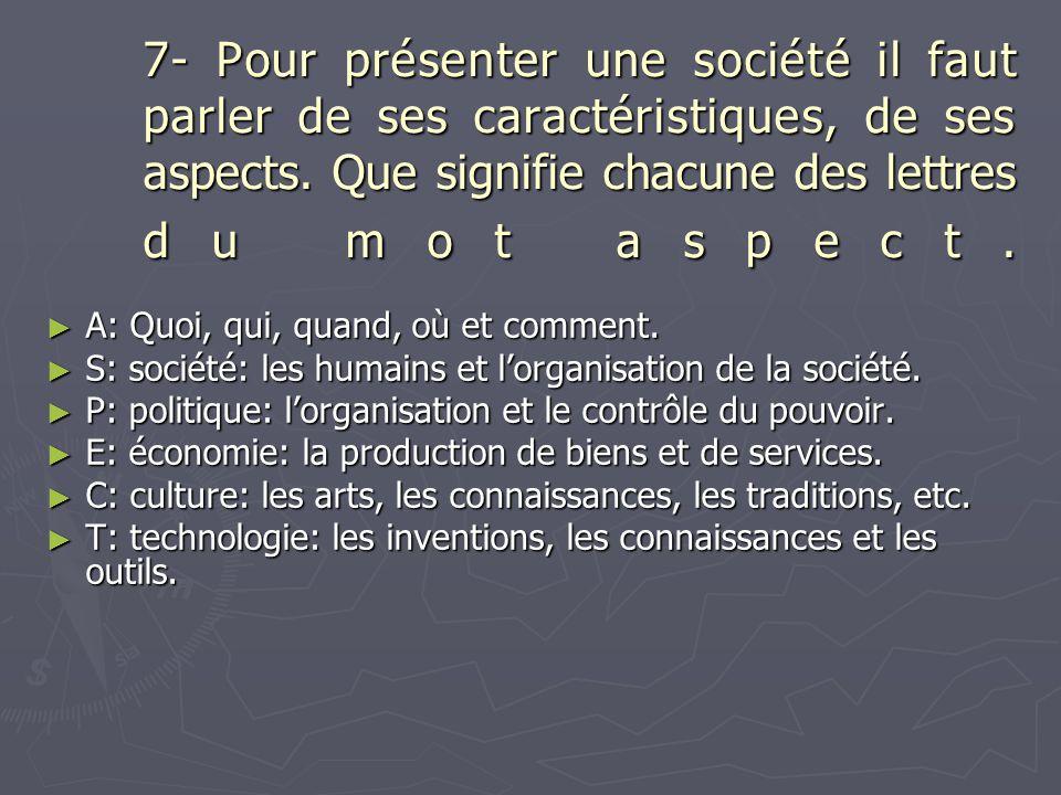 7- Pour présenter une société il faut parler de ses caractéristiques, de ses aspects. Que signifie chacune des lettres du mot aspect.