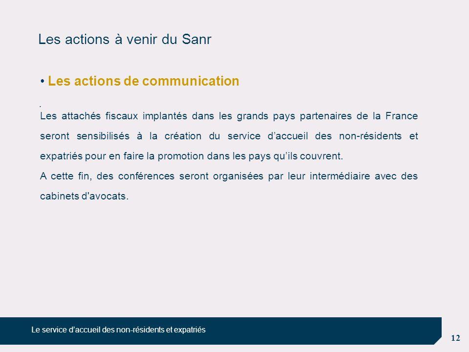 Les actions à venir du Sanr