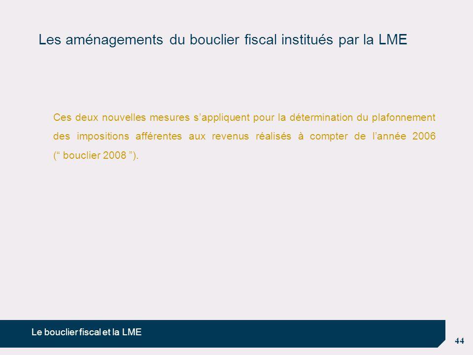 Les aménagements du bouclier fiscal institués par la LME
