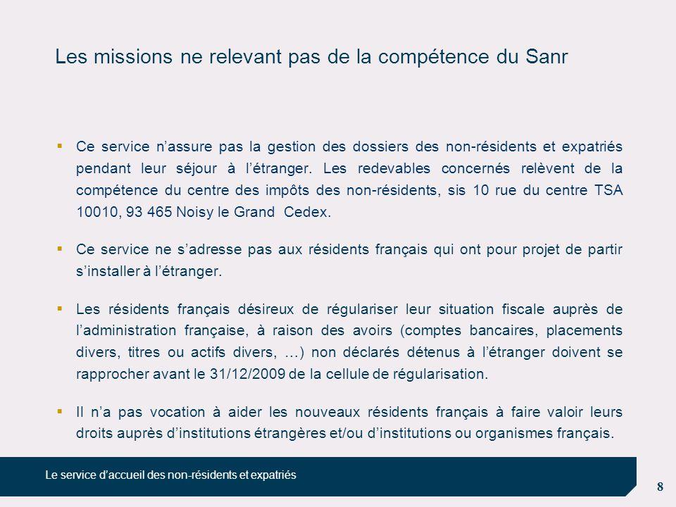 Les missions ne relevant pas de la compétence du Sanr