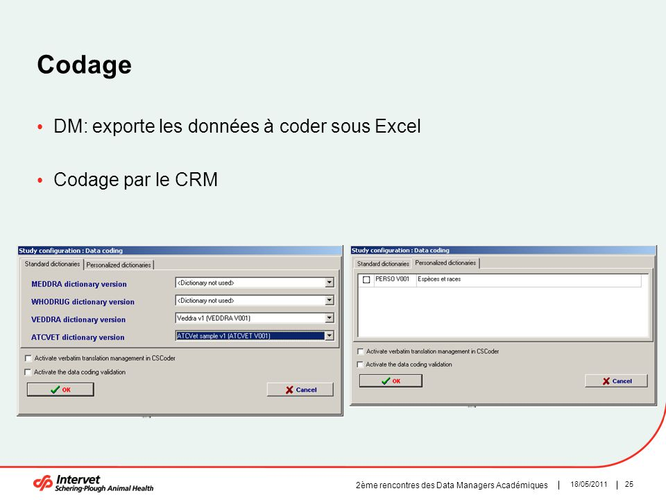 Codage DM: exporte les données à coder sous Excel Codage par le CRM