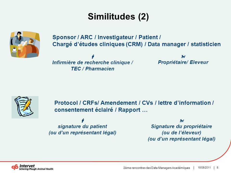 Similitudes (2) Sponsor / ARC / Investigateur / Patient /