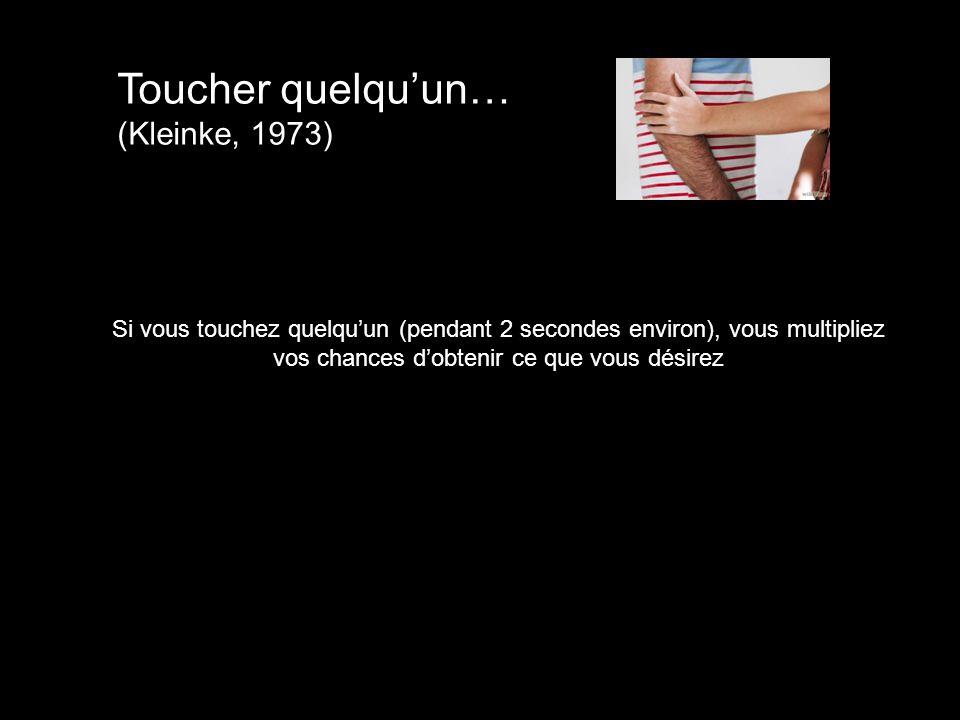 Toucher quelqu'un… (Kleinke, 1973)