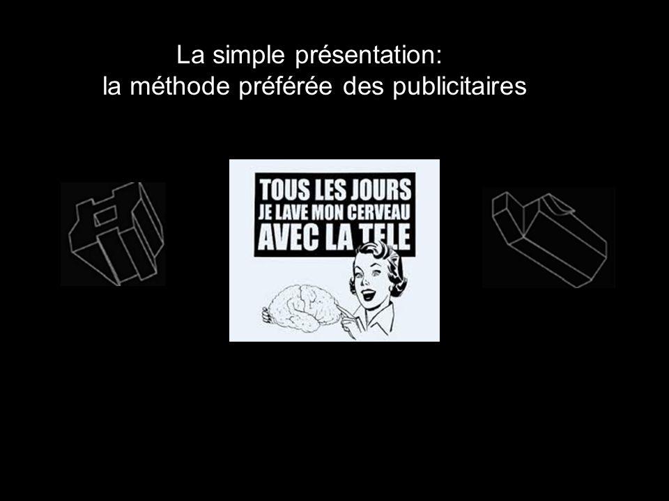 La simple présentation: la méthode préférée des publicitaires