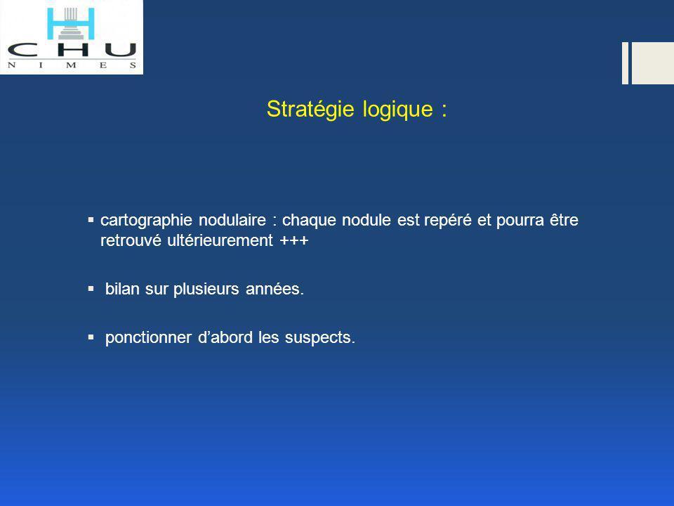 Stratégie logique : cartographie nodulaire : chaque nodule est repéré et pourra être retrouvé ultérieurement +++