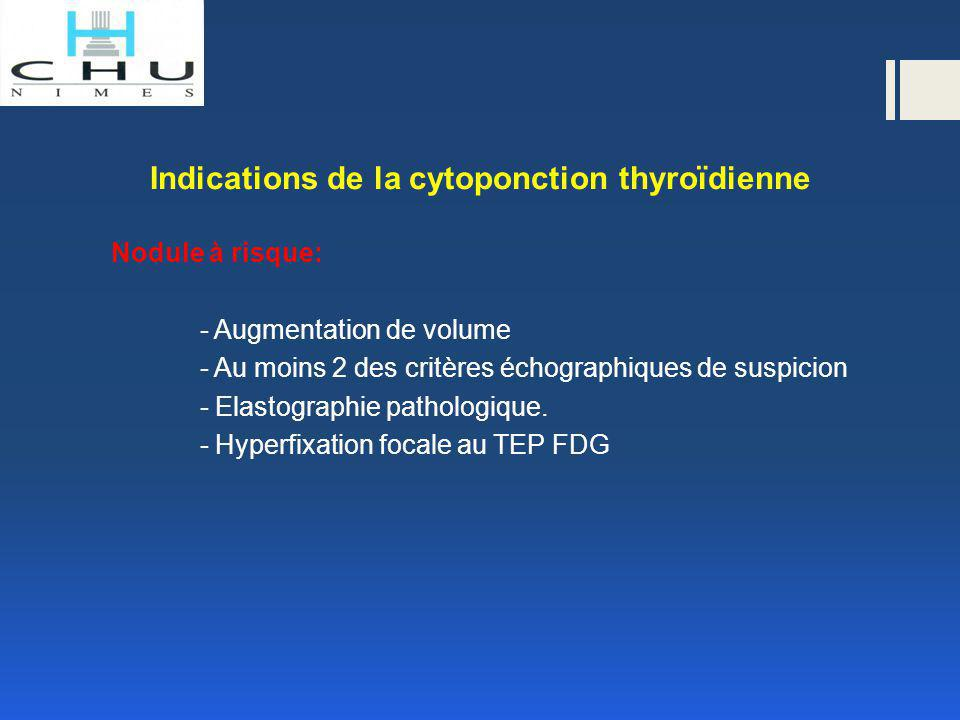 Indications de la cytoponction thyroïdienne