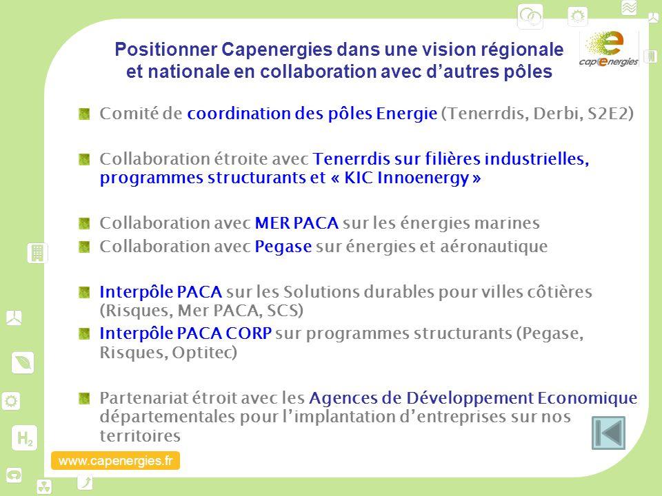 Positionner Capenergies dans une vision régionale et nationale en collaboration avec d'autres pôles