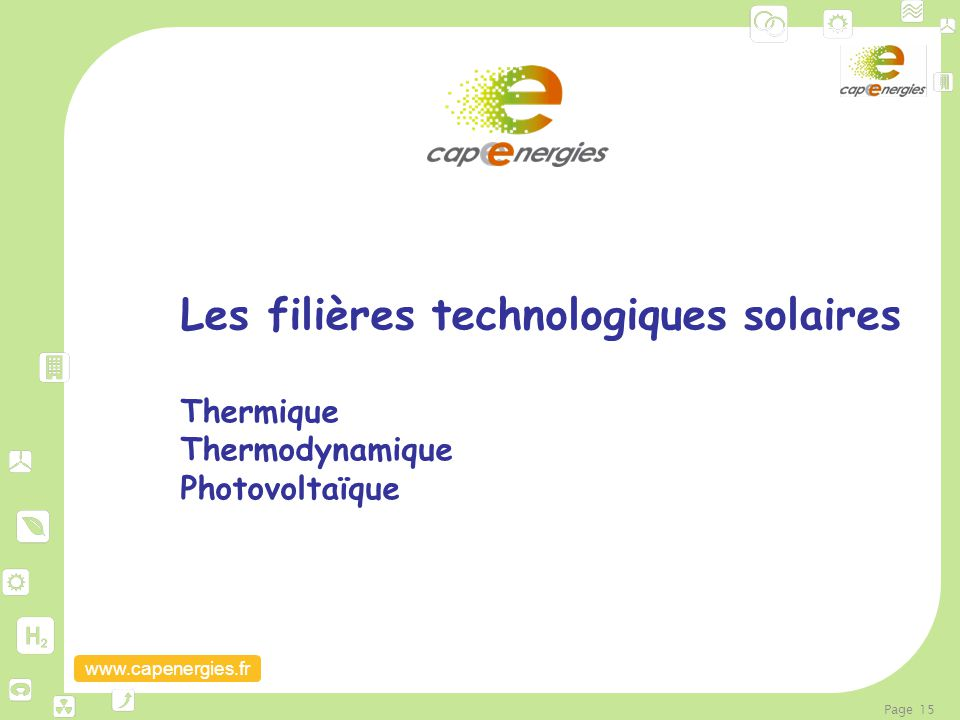 Les filières technologiques solaires