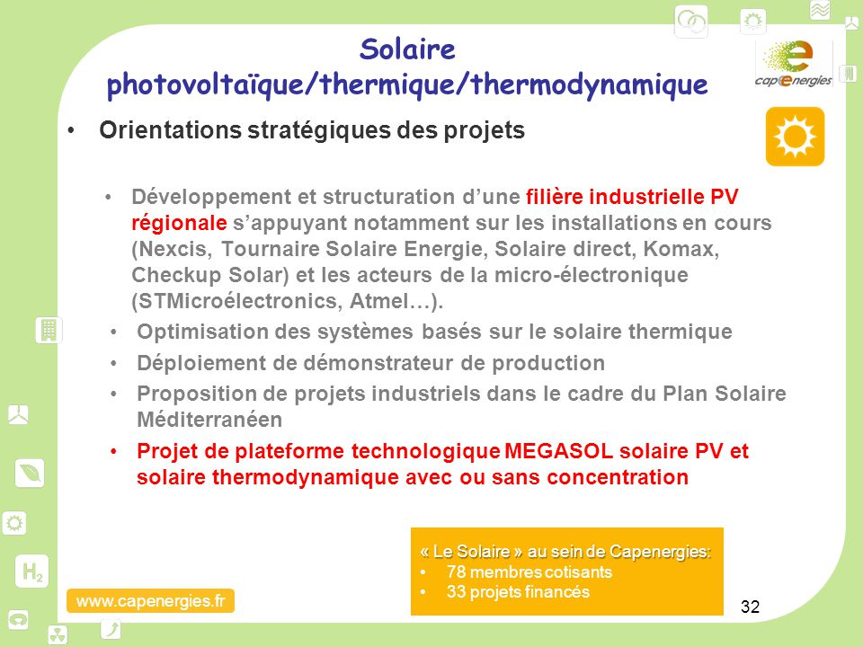 Solaire photovoltaïque/thermique/thermodynamique