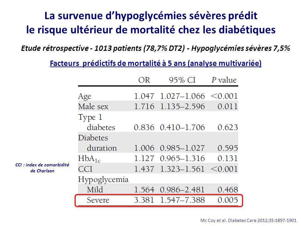 La survenue d'hypoglycémies sévères prédit