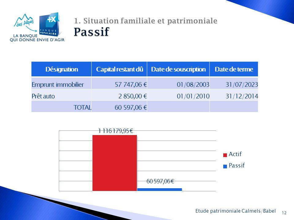 1. Situation familiale et patrimoniale Passif
