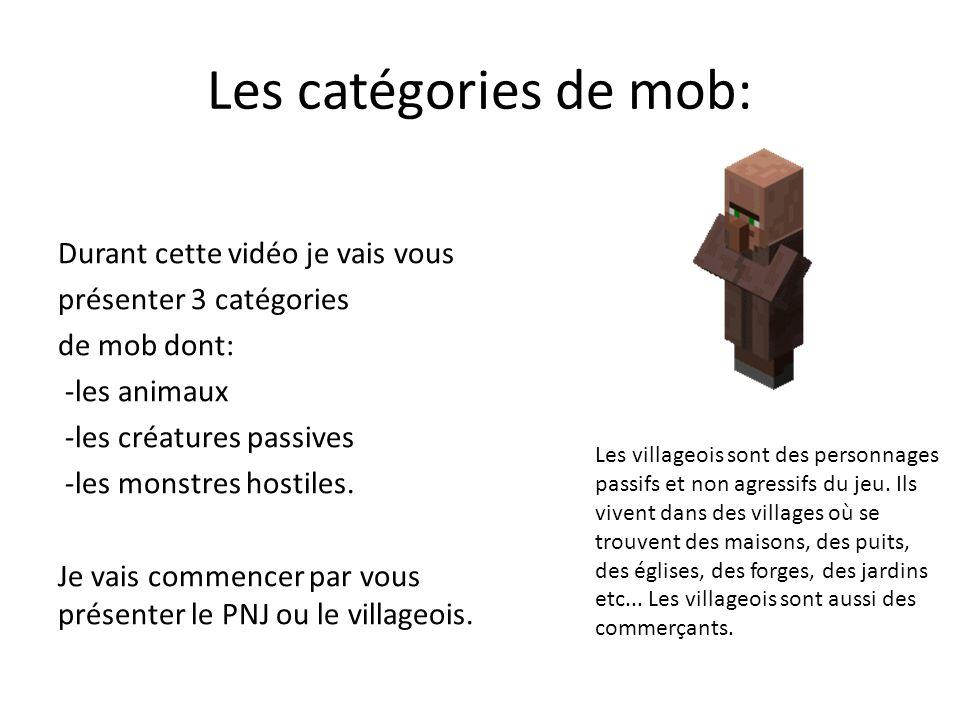Les catégories de mob: