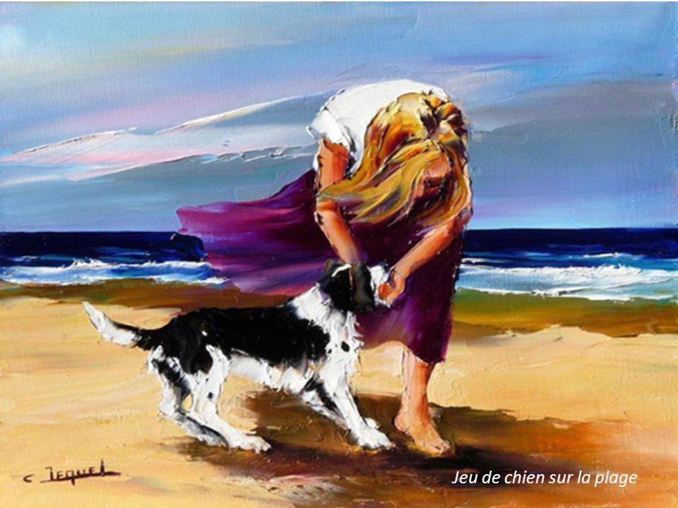 Jeu de chien sur la plage