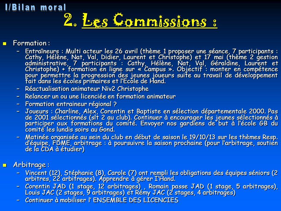 2. Les Commissions : I/Bilan moral Formation : Arbitrage :
