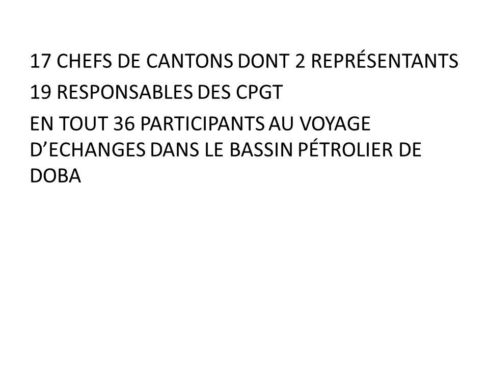 17 CHEFS DE CANTONS DONT 2 REPRÉSENTANTS 19 RESPONSABLES DES CPGT EN TOUT 36 PARTICIPANTS AU VOYAGE D'ECHANGES DANS LE BASSIN PÉTROLIER DE DOBA