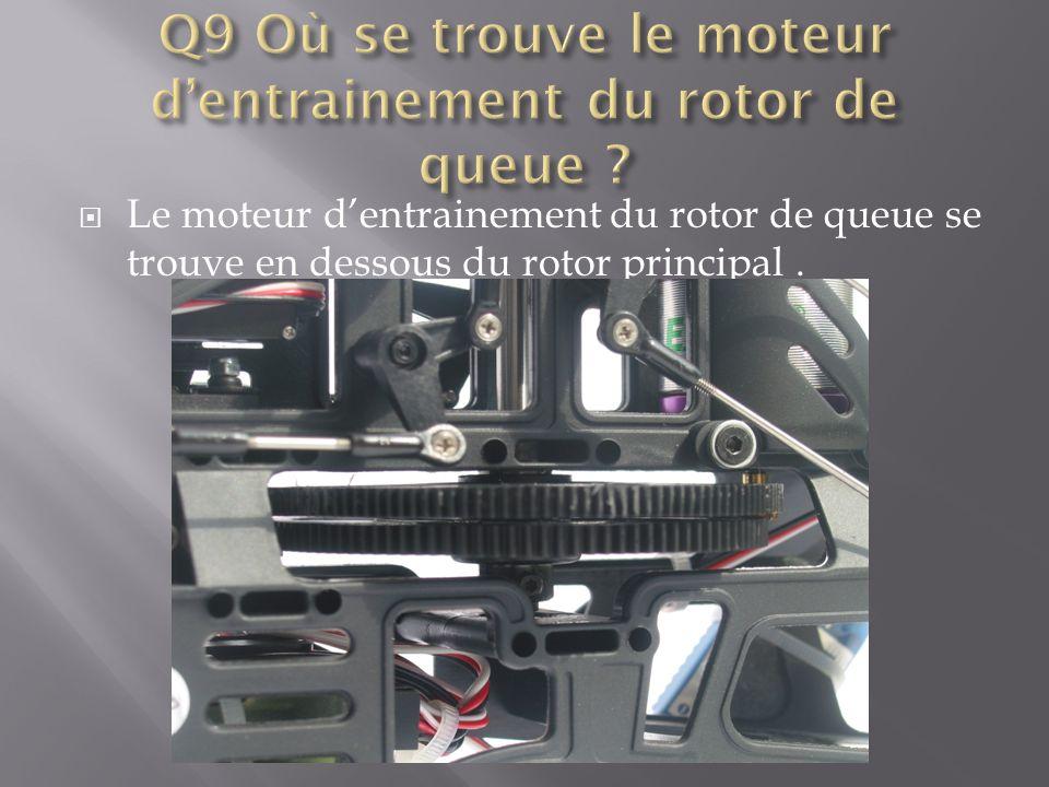 Q9 Où se trouve le moteur d'entrainement du rotor de queue