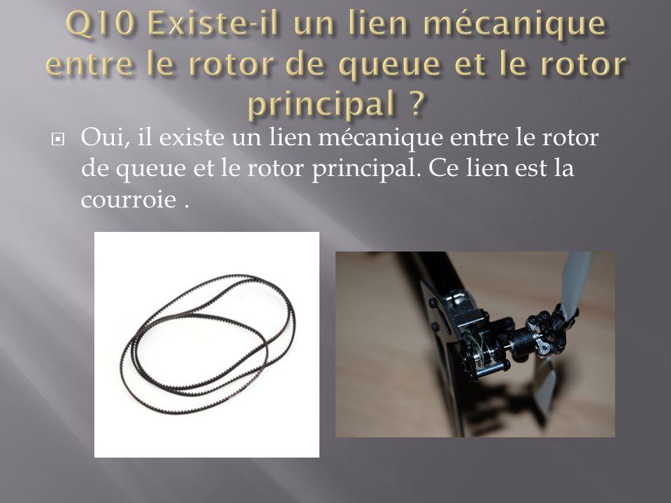 Q10 Existe-il un lien mécanique entre le rotor de queue et le rotor principal