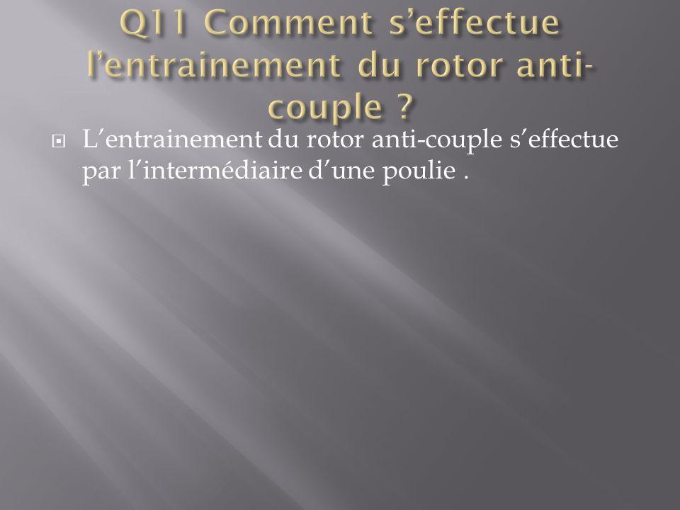 Q11 Comment s'effectue l'entrainement du rotor anti-couple