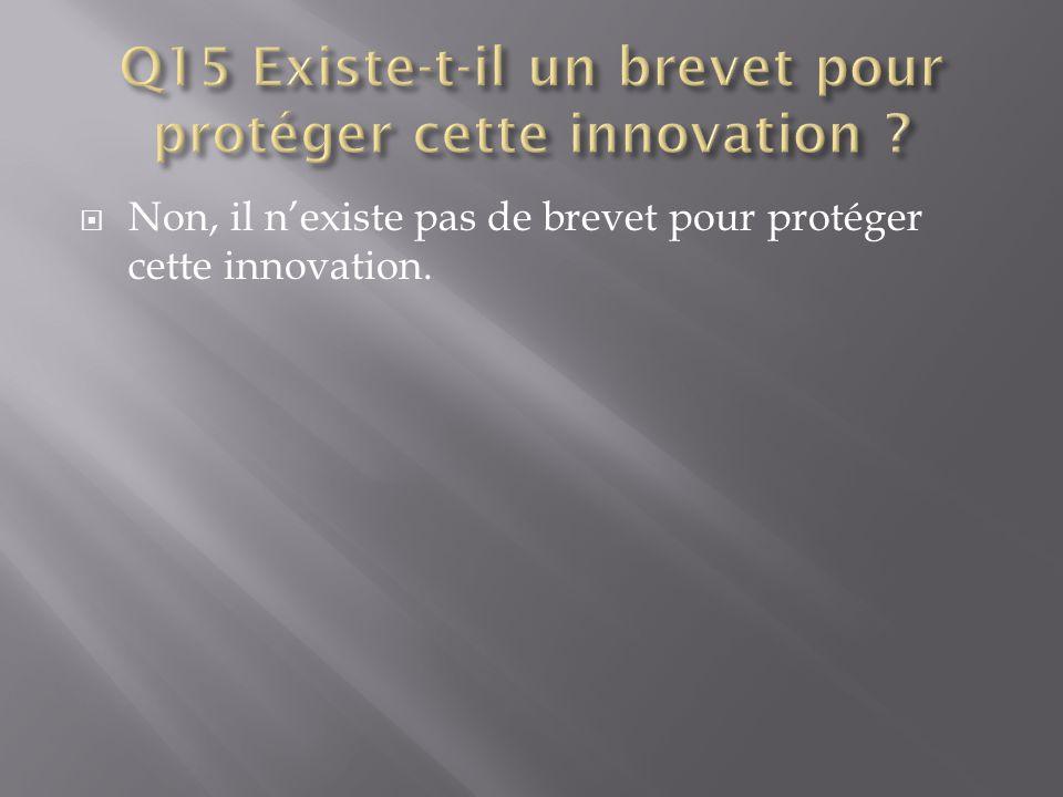 Q15 Existe-t-il un brevet pour protéger cette innovation