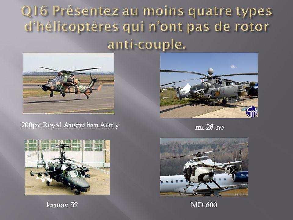 Q16 Présentez au moins quatre types d'hélicoptères qui n'ont pas de rotor anti-couple.