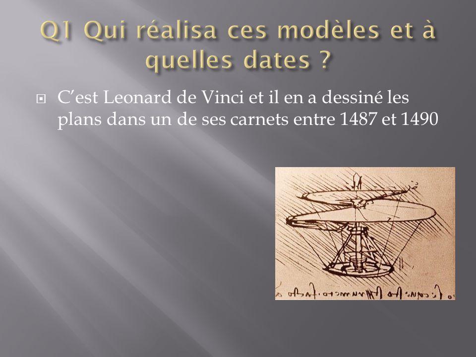 Q1 Qui réalisa ces modèles et à quelles dates