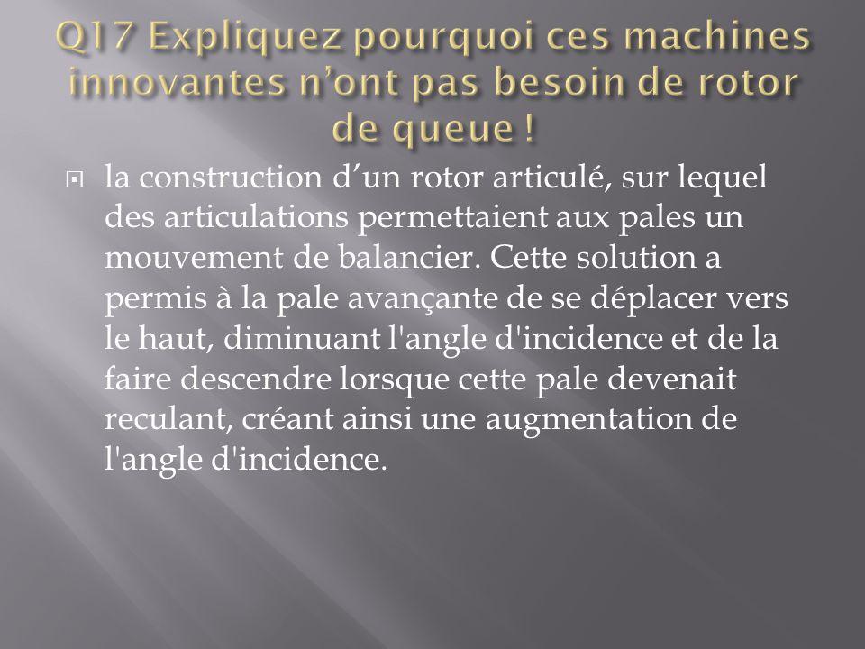 Q17 Expliquez pourquoi ces machines innovantes n'ont pas besoin de rotor de queue !