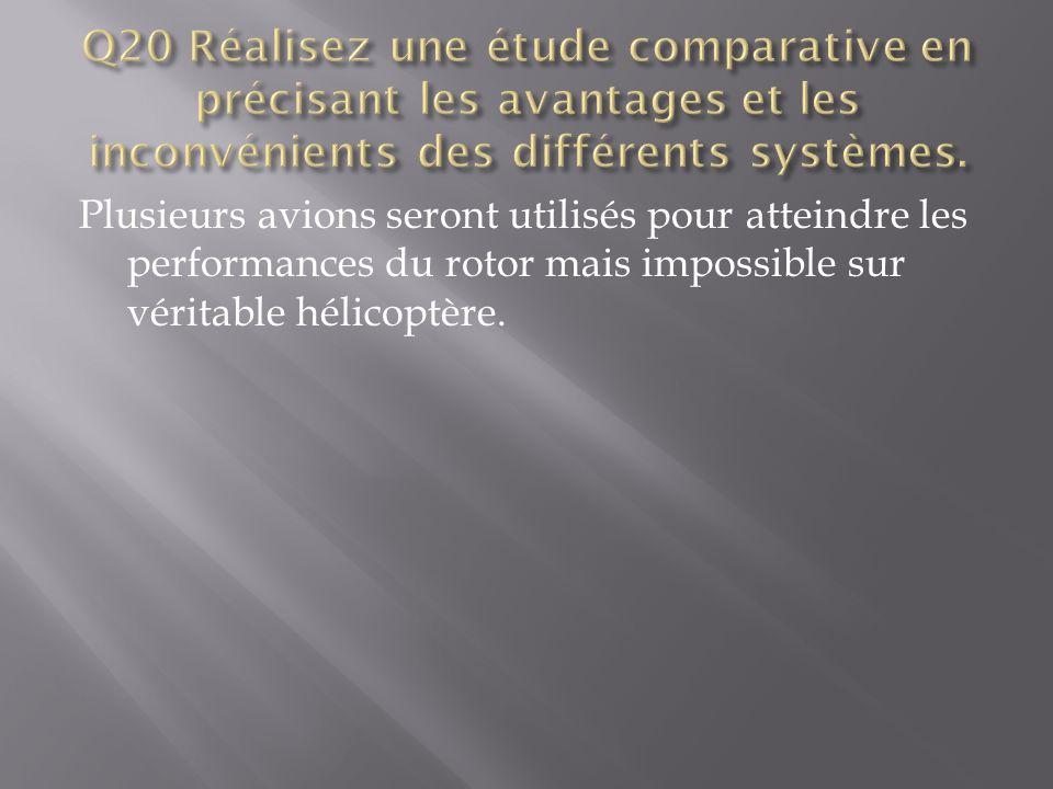 Q20 Réalisez une étude comparative en précisant les avantages et les inconvénients des différents systèmes.