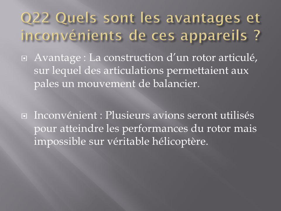 Q22 Quels sont les avantages et inconvénients de ces appareils