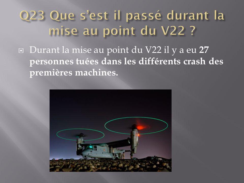 Q23 Que s'est il passé durant la mise au point du V22