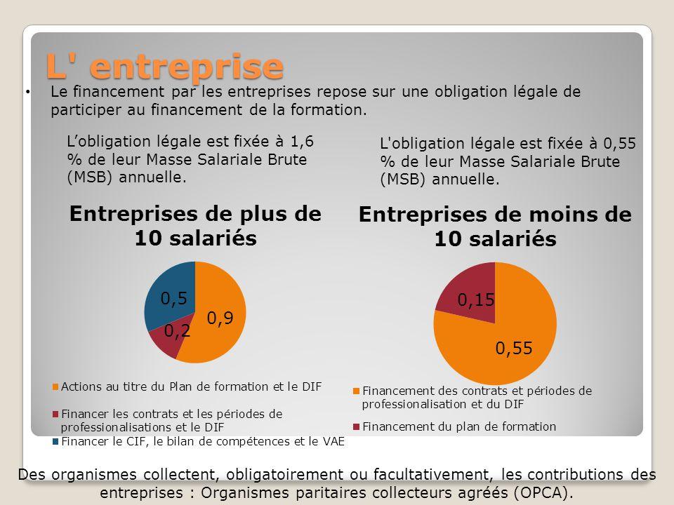 L entreprise Le financement par les entreprises repose sur une obligation légale de participer au financement de la formation.