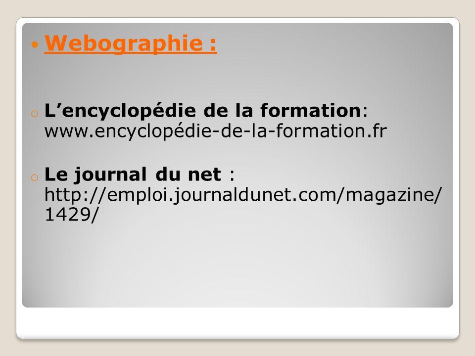 Webographie : L'encyclopédie de la formation: www.encyclopédie-de-la-formation.fr.