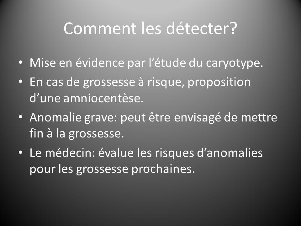Comment les détecter Mise en évidence par l'étude du caryotype.