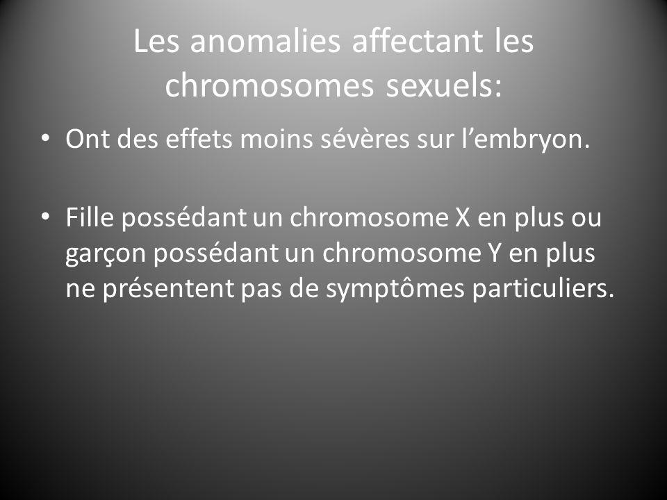Les anomalies affectant les chromosomes sexuels: