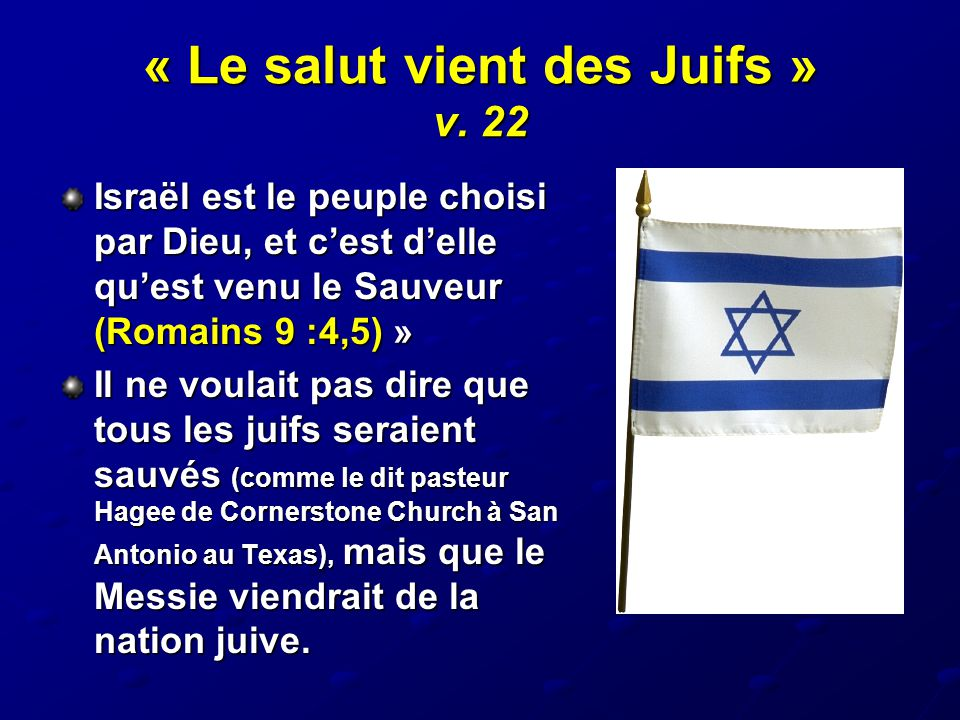 « Le salut vient des Juifs » v. 22