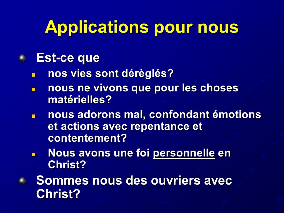Applications pour nous